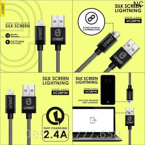 Kabel Data Uneed Silk Screen Metal Lightning USB 1M /Cable UCS8PIN - Hitam
