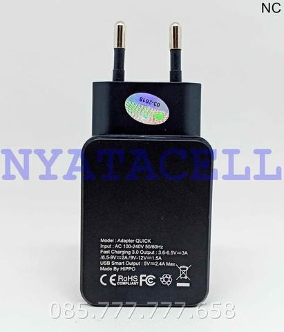 Kepala Charger Hippo Quick Charge 3.0 2 Port USB Adaptor Adapter - Hitam