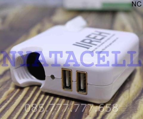 Kepala Charger Jireh 2 Port 2.1A Switch Adapter AC to DC/USB/Original - Putih