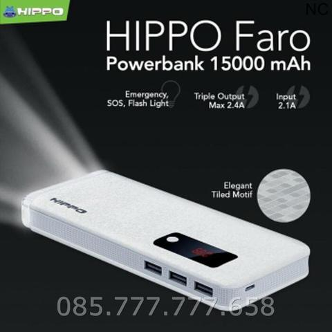 Powerbank Hippo Faro 3 Port 15000mAh Simpe Pack /Power Bank 15000 mAh