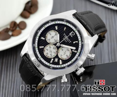 Jam Tangan Pria Lelaki Tissot Chrono On 01 Leather Black Silver
