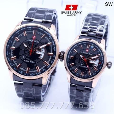 Jam Tangan Swiss Army SA Couple Daydate 04 Rantai Black Rose