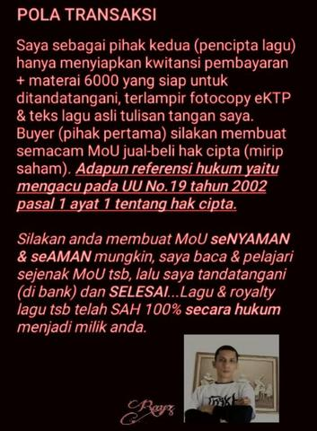Dijual putus 2 royalty lagu komersial