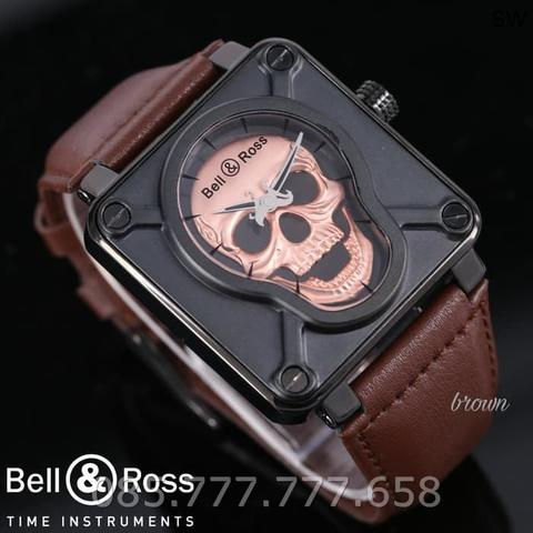 Jam Tangan Pria Lelaki Bell & Ross Tengkorak Leather Light Brown Rosegold