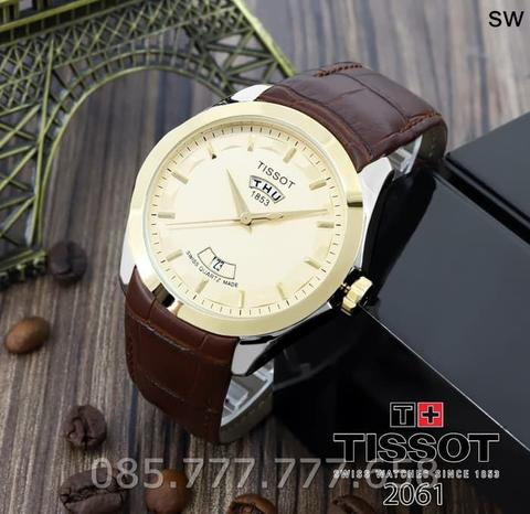 Jam Tangan Pria Lelaki Tissot Daydate 02 Leather Brown Kombi plat Gold