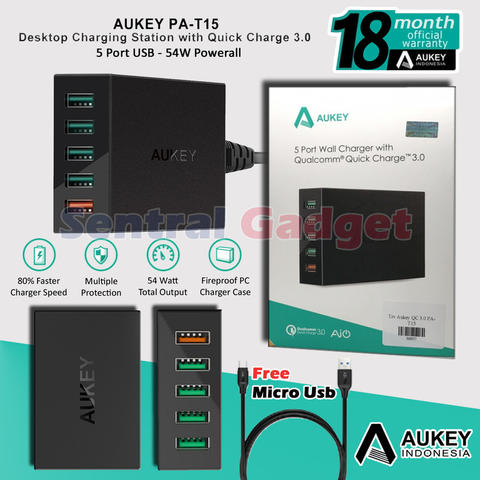 5 USB Port Fast Charger Aukey PA-T15 Quick Charge 3.0 Garansi Resmi 1 Tahun