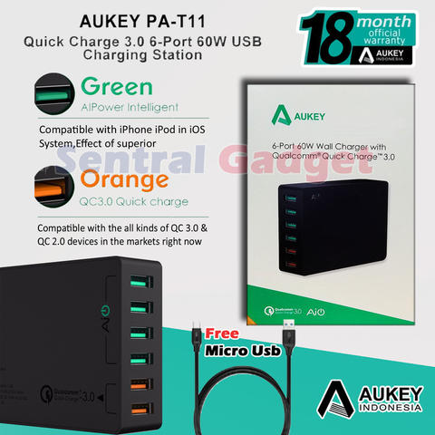 Charger Aukey PA-T11 6 Port USB Charging Quick Charge 3.0 & Ai Power Garansi Resmi