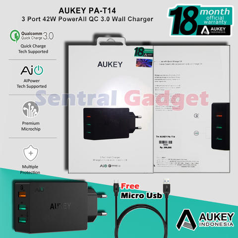 Charger Aukey PA-T14 Quick Charge 3.0 Garansi Resmi 3 Port USB Free Kabel Micro USB