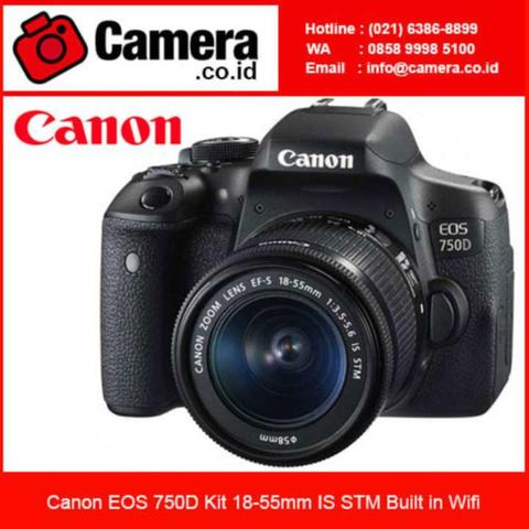 Canon Eos 750D Kit 18-55mm IS STM - 24MP - Hitam