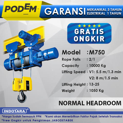 Electric Wire Rope Hoist Pode Normal Headroom Hoist M750(2 Rope Falls)