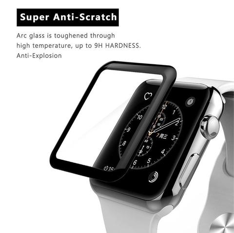 Tempered Glass Full Curve Untuk Apple Watch 38mm 1 / 2 / 3 / Sport