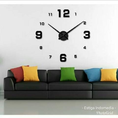 Jam Dinding Besar DIY Giant Wall Clock Exclusive Black
