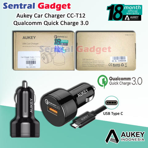 Car Charger Aukey CC-T12 Qualcomm Quick Charge 3.0 + Kabel USB Type C Fast Charging