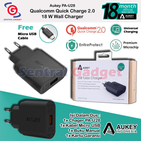Charger Original Aukey Qualcomm Quick Charge 2.0 PA U28 Free Kabel Micro Usb
