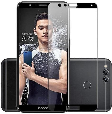 TEMPERED GLASS HUAWEI HONOR 7X COLOR FULL COVER TERMURAH - Hitam