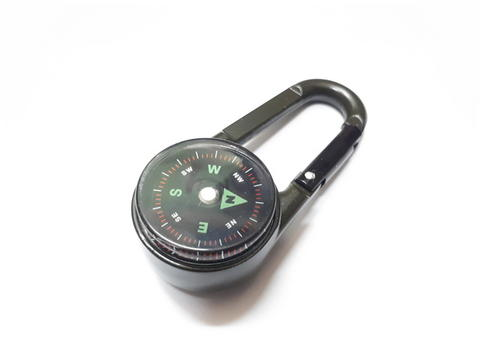 Metal Carabiner Hook Compass Thermometer Multifungsi Hiking Outdoor Tools