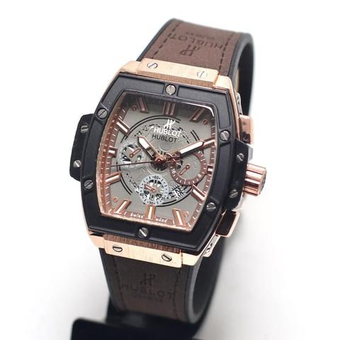 Jam Tangan Pria / Cowok Hublot 09 Leather Dark Brown Rosegold