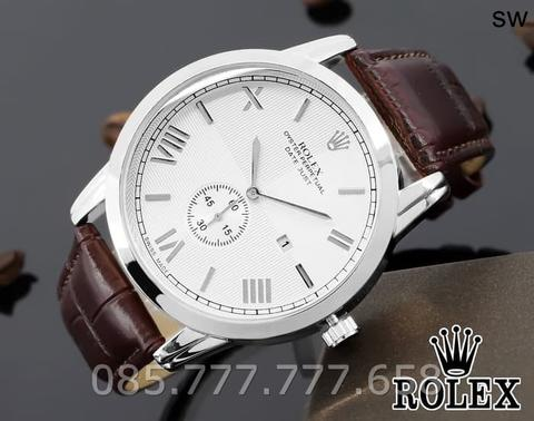 Jam Tangan Pria / Cowok Rolex Oyster 02 Leather Brown Silver