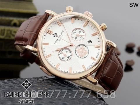 Jam Tangan Pria Patek Phillipe 03 Leather Brown Rosegold Plat White