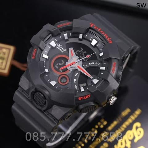 Jam Tangan Pria Tetonis Original Man TM8500 Rubber Black Red