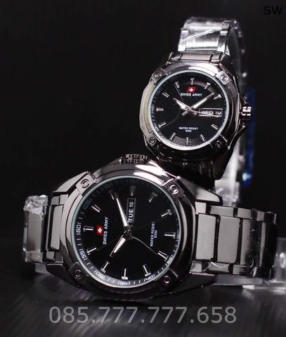 Jam Tangan Swiss Army Couple Murah SK825 Rantai Full Black