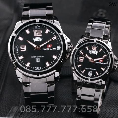 Jam Tangan Swiss Army SA Couple Daydate 05 Rantai Full Black