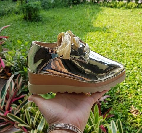 sneaker wedges gold anak import