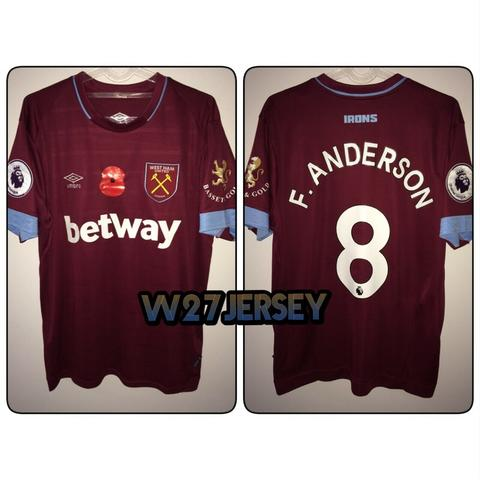 Jersey Westham United Home, Away name player F. Anderson + Patch EPL