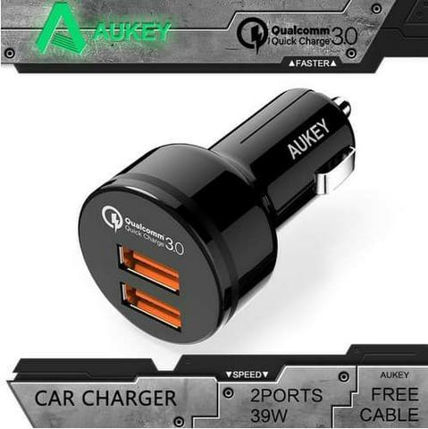 2ND AUKEY QUICK CHARGE 3.0 CAR CHARGER DUAL PORT CC-T8