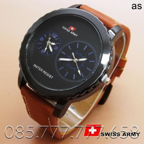 Swiss Army Leather Dualtime (Brown Leather List Blue)