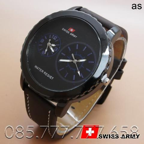 Swiss Army Leather Dualtime (Dark Brown Leather List Blue)