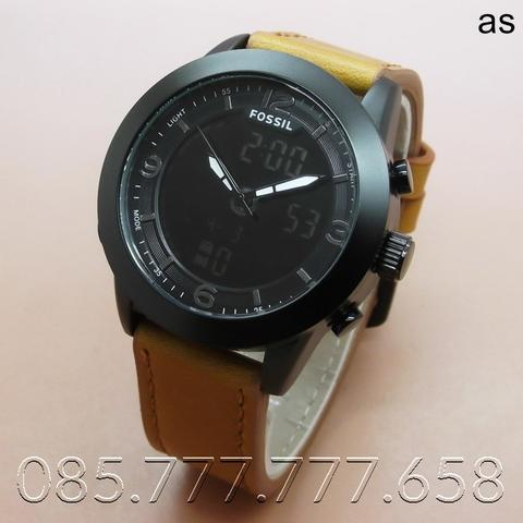 Jam Tangan Pria Fossil FS5138 Leather Black Brown