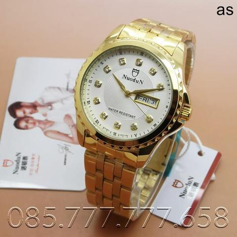 Jam Tangan Pria Original Nuodun ND-1897 Gold White