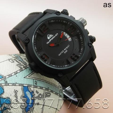Jam Tangan Pria Quiksilver Kulit Date Aktif Black Leather Red