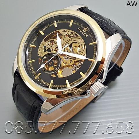 Jam Tangan Pria / Jam Tangan Murah Rolex Gordon Leather Black Gold