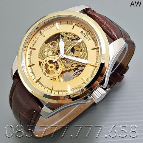 Jam Tangan Pria / Jam Tangan Murah Rolex Gordon Leather Brown in Gold