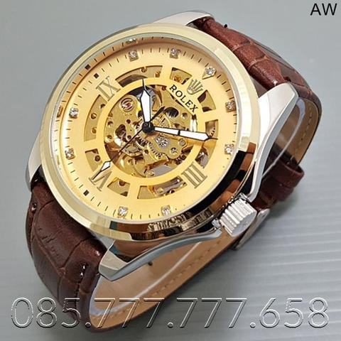 Jam Tangan Pria / Jam Tangan Murah Rolex Matic Star Brown In Gold