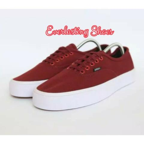 Sepatu Vans Authentic Mono Red Maroon Grade Ori Merah Marun Shoes Shoe Sneakers