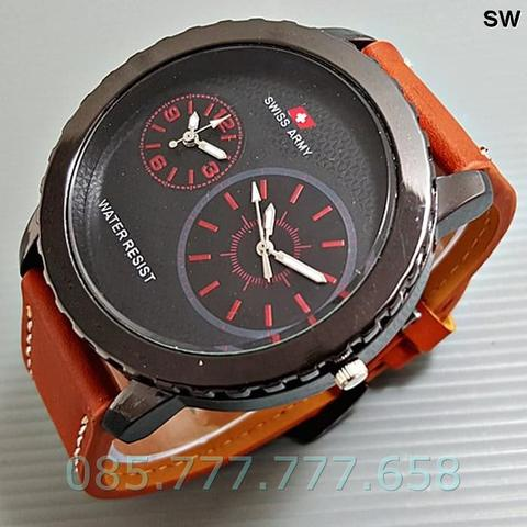 Swiss Army Double Clock Leather Light Brown