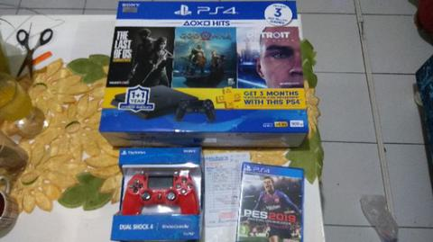 Playstation PS 4 Slim 500GB Bundle Hits 3 game Grs 2 Thn (BNOB)+1 Stik+PES 2019 NEW.