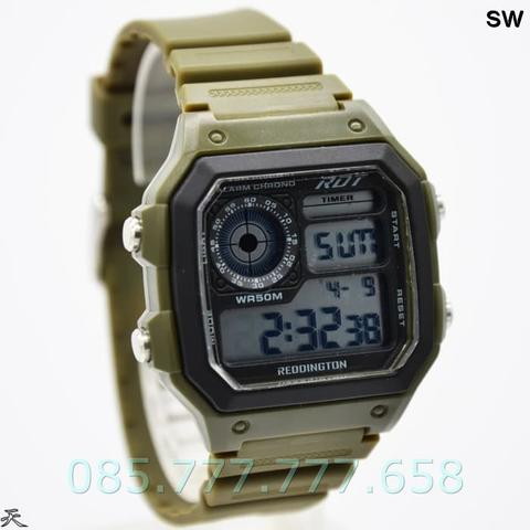 Jam Tangan Pria / Cowok Reddington Original R885 Rubber Green White