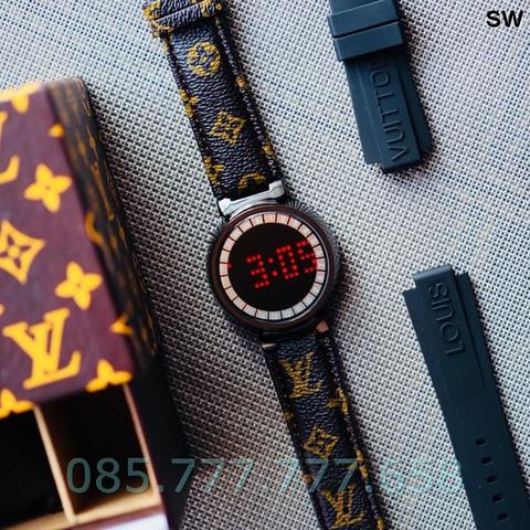Jam Tangan Pria / Wanita LV Touch Screen Leather Black A