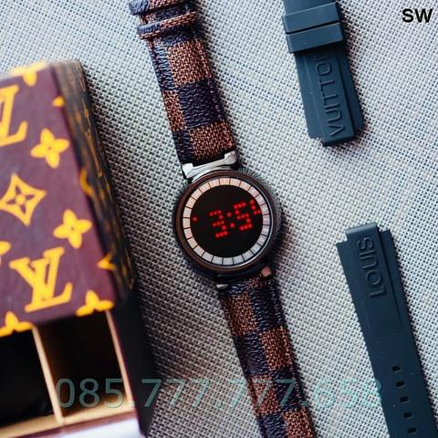 Jam Tangan Pria / Wanita LV Touch Screen Leather Black B