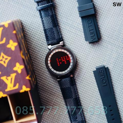 Jam Tangan Pria / Wanita LV Touch Screen Leather Black C
