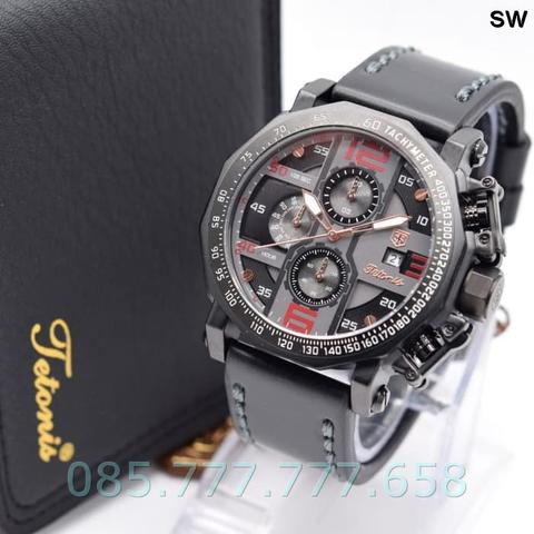 Jam Tangan Pria Original Tetonis Chrono Man SW Leather Black Red