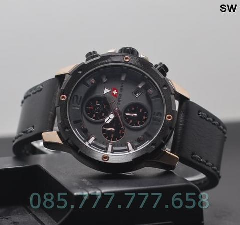 Jam Tangan Pria Swiss Army Chrono SK402 Leather Black Rosegold