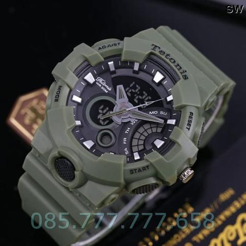 Jam Tangan Pria Tetonis Original Man TM8500 Rubber Green