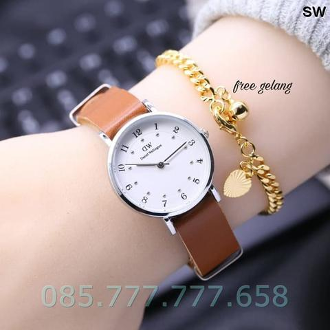 Jam Tangan Wanita / Cewek DW Ladies Leather Brown 02 Free Gelang Gold