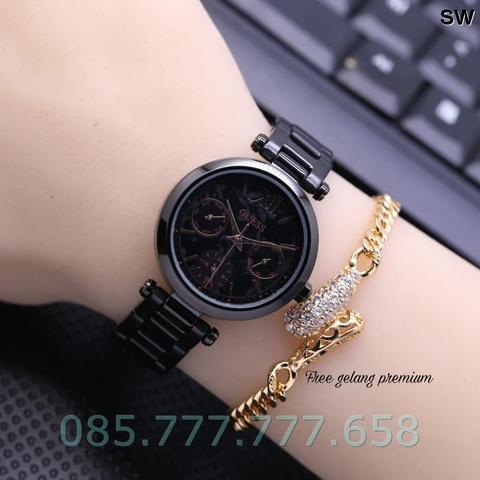 Jam Tangan Wanita Guess Chrono Ladies Rantai Black Free Gelang Gold