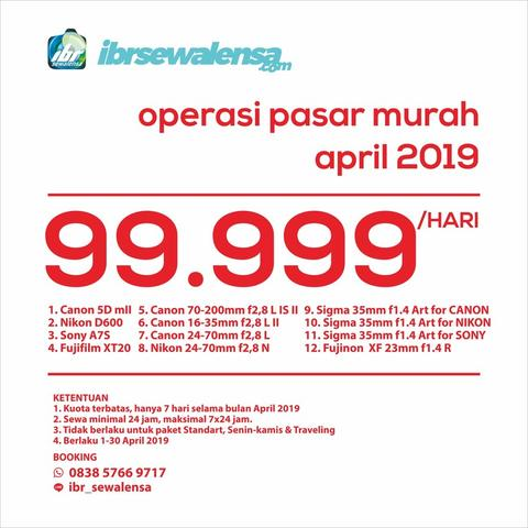Sewa Rental Kamera Flash Operasi Pasar Murah April 2019 99.999/hari